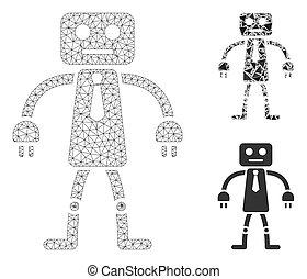 モデル, 死体, ロボット, 噛み合いなさい, ベクトル, アイコン, 三角形, 役人, モザイク