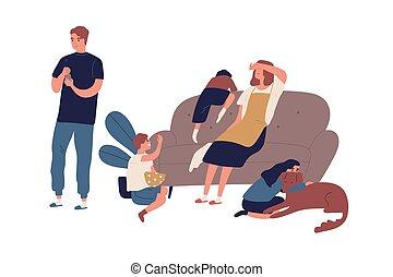 モデル, 無関心, 後で, 問題, 日, インターネット, isolated., 持つこと, 家族, 母, ソファー, ...