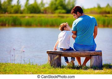 モデル, 父, 息子, 川岸, 幸せ