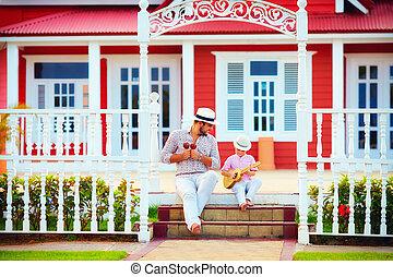 モデル, 父, 息子, 音楽, 階段, 遊び