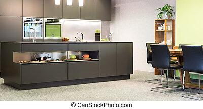 モデル, 現代, 灰色, 暗い, 明り, スイート, 台所