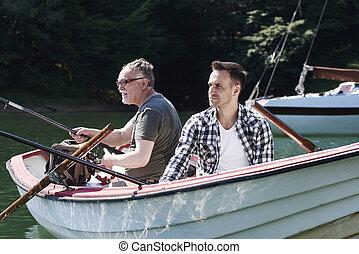 モデル, 男性, 棒, 集中される, 漁船