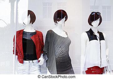 モデル, 窓, ファッション