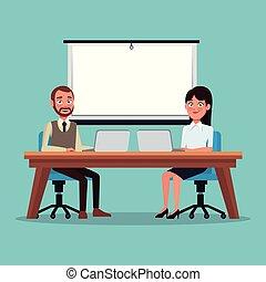 モデル, 色, 恋人, 仕事, 人々, 背景, 机, 前部, プレゼンテーション, ラップトップ, 経営者