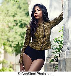 モデル, 若い女性, ファッション, 庭, 美しい