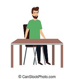 モデル, 若い, テーブル, 椅子, 偶然, 人