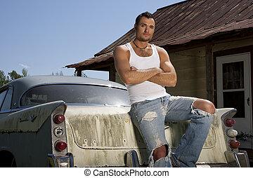モデル, 若い, マレ, 自動車, 古い