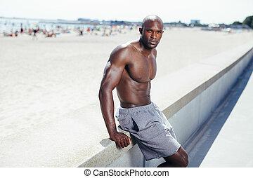 モデル, 若い, 堤防, アフリカ, 浜, 人