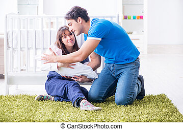 モデル, 若い, 新生, ∥(彼・それ)ら∥, 親, 赤ん坊, カーペット
