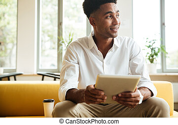 モデル, 若い, 朗らかである, coworking, アフリカの男