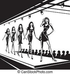 モデル, 表しなさい, ファッション, 新しい, 衣服を着せなさい
