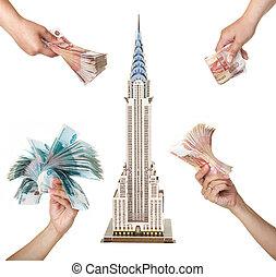 """モデル, 超高層ビル, """"chrysler, building"""", そして, ∥, 女性, 手, ∥で∥, パケット, の, ロシア人, お金。"""