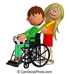 モデル, 車椅子, 若い, 不具 子供, 女の子