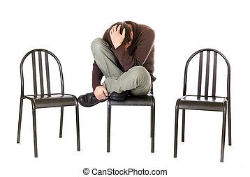 モデル, 隔離された, 悲しい, 単独で, 椅子, 白, 人