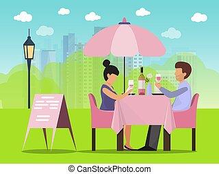 モデル, 飲むこと, illustration., テーブル, 日付, 外, カフェ, 話し, 恋人, ベクトル, ワイン, 女, 人
