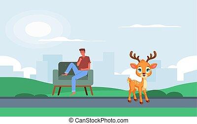 モデル, 鹿, 人, 公園, 見る