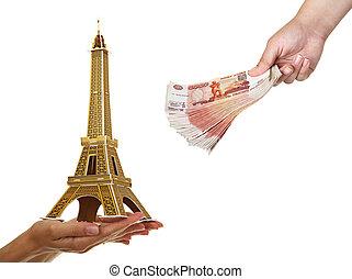 モデル, eiffel タワー, そして, a, パック, の, 5, thousandth, の, メモ, 中に, 女性, hands., (purchase, の, ∥, 旅行, 中に, paris)