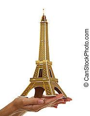 モデル, eiffel タワー, 中に, ∥, 女性, 手。