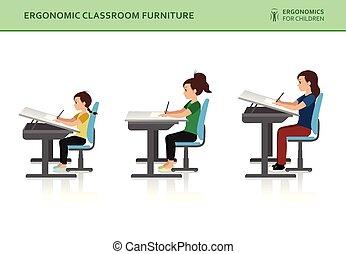 モデル, ergonomic., ポーズを取りなさい, 正しい, 悪事, 子供