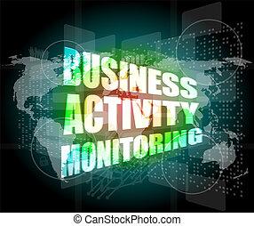 モニタリング, ビジネス 概念, スクリーン, デジタル, 感触, 活動, インターフェイス