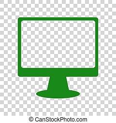 モニター, ∥で∥, ブラシ, 印。, 暗い緑, アイコン, 上に, 透明, バックグラウンド。