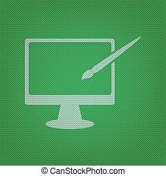 モニター, ∥で∥, ブラシ, 印。, 白, アイコン, 上に, ∥, 緑, ニットウェア, ∥あるいは∥, 毛織りである, 布, texture.
