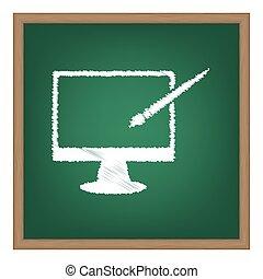 モニター, ∥で∥, ブラシ, 印。, 白, チョーク, 効果, 上に, 緑, 学校, board.