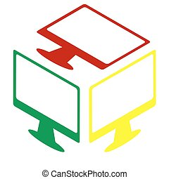 モニター, ∥で∥, ブラシ, 印。, 等大, スタイル, の, 赤, 緑, そして, 黄色, icon.