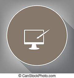 モニター, ∥で∥, ブラシ, 印。, vector., 白, アイコン, 上に, ブラウン, 円, ∥で∥, 白, 輪郭, そして, 長い間, 影, ∥において∥, 灰色, バックグラウンド。, のように, 平面図, 上に, postament.