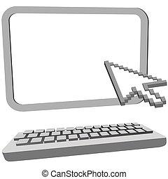 モニター, カーソル, コンピュータ, 矢, キーボード, クリック, 3d