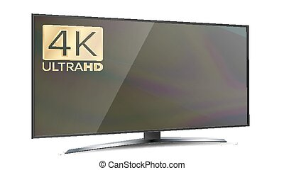 モニター, スクリーン, 隔離された, イラスト, tv., 4k, 白, ultra, 決断, hd, 痛みなさい