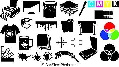モニター, セット, アイコン, プリンター, 道具, パレット, -, 作図装置, cmyk, rgb, 印刷, ピペット, magnifier, 色, ペイントブラシ, gamma