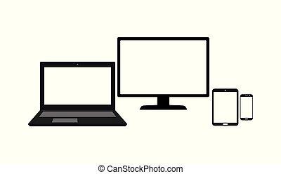 モニター, セット, タブレット, モビール, スクリーン, 隔離された, ラップトップ, 電話, コンピュータ, 背景, ブランク, 白