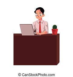 モニター, 仕事, モデル, オフィス, 見る, コンピュータ, ビジネスマン