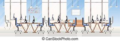 モニター, 平ら, 中心, オフィスの人々, 開いた, 現代, スペース, 創造的, コンピュータ, いいえ, 内部, 横, 机, 旗, co-working, 空, 仕事場