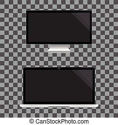 モニター, 現実的, tv, screen., ノート, ディスプレイ, バックグラウンド。, ベクトル, 黒, 透明, illustration.