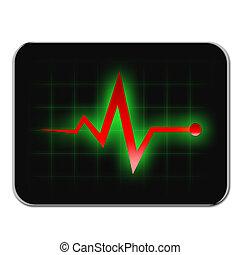 モニター, 診断, 上に, タブレット, 黒, 色