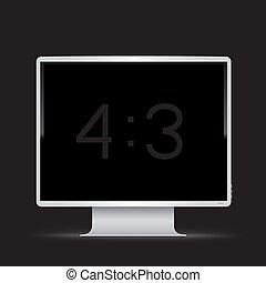 モニター, 3, 黒, 4, 背景, 白