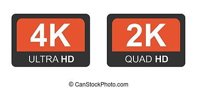 モニター, 4k, ベクトル, hd., クォード, 現代 技術, 2k, signs., シンボル, ultra, ディスプレイ, イラスト, hd