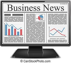 モニター, eps10, ビジネス, スクリーン, イラスト, ベクトル, ニュース, コンピュータ