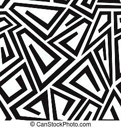 モノクローム, カーブ, 迷路, seamless, パターン