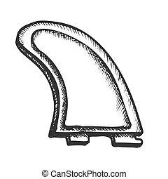 モノクローム, サーフボード, 単一, 要素, 竜骨, ベクトル