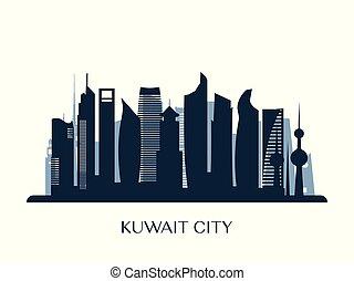 モノクローム, スカイライン, 都市, silhouette., クウェート