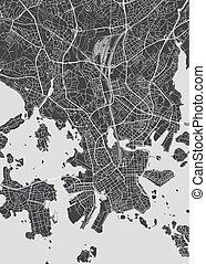 モノクローム, ベクトル, 計画, 都市, イラスト, 地図, 詳しい, ヘルシンキ