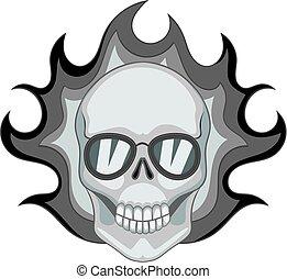 モノクローム, 燃えている, 頭骨, アイコン