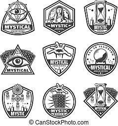 モノクローム, 神秘主義者, ラベル, セット, 型