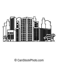 モノクローム, 輪郭, の, 都市, 風景