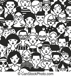 モノクローム, 輪郭, 顔, スタイル, 頭, パターン, seamless, バックグラウンド。, 引かれる, 白, 男性, 包むこと, イラスト, 女性, 人々。, ライン, ∥あるいは∥, ベクトル, いたずら書き, 流行, paper., 背景