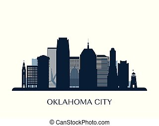 モノクローム, 都市, オクラホマ, スカイライン, silhouette.