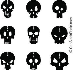 モノクローム, icon., セット, 頭骨